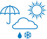 Weather icons – sunny, cloudy, rainy weathe Stock Images