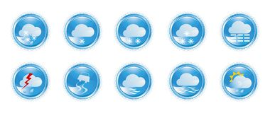Weather icons 01. Weather icons, shiny buttons, part 01 Stock Images