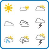 Weather icons 1. Weather icons set for sun, clouds, flash, snow, rain (vector illustration Stock Photography