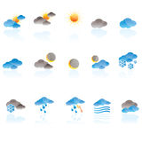 Weather icons. Weather, cloud and sky icons - vector icon set Royalty Free Stock Photos
