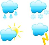 Weather icons. Web icons. Weather icons for internet stock illustration