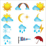 Weather icons. Set of 12 weather icons Stock Photos