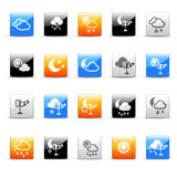 Weather icons. Set of 20 glossy weather icons Royalty Free Stock Image