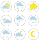 Weather Icons. A set of nine weather icons Stock Photo
