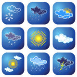 Weather icons. Weather forecast icons. Vector illustration Stock Image