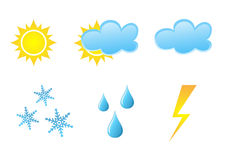 Weather icons. Vector collection of different glossy  weather icons on white background Royalty Free Stock Photos