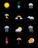 Weather icons. Set of glossy weather icons isolated on black Stock Photos