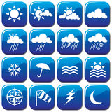 Weather Icons. Collection of shiny weather icons Stock Images