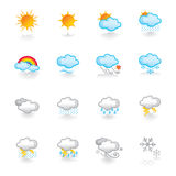 Weather icons. A set of weather icons – suitable for web, powerpoint, leaflet etc Royalty Free Stock Photo