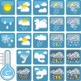 Weather icons. A colorful collection of a weather icons Royalty Free Stock Photos