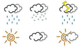 Weather icons. Set of coloured icons describing the six most common weather conditions: sunny, raining snowing, clouding, and so on Stock Photo
