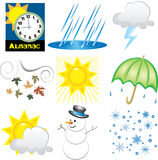 Weather Icons. Vector Illustration of 9 Weather Icons. Very Easy to edit Royalty Free Stock Photos