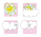Weather icons. Sun, rain, cloud and snow Stock Photos