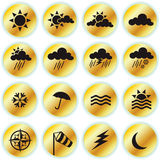 Weather Icons. Collection of golden weather icons Royalty Free Stock Photography
