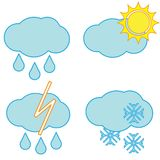 Weather icons. Clouds and sun vector icons Royalty Free Stock Images