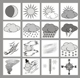 Weather icons. Or cliparts greyscale with black outlines on white background Royalty Free Stock Image