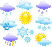 Weather icons. With sun, clouds and snow