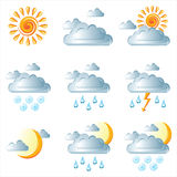 Weather icons. 9 weather icons over white background stock illustration