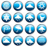 Weather icons. Set of 16 weather related icons Stock Images