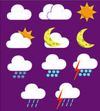 Weather Icons 2. Coloured weather icons Stock Images
