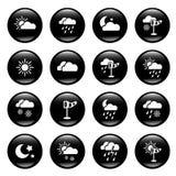 Weather icons. Set of 20 weather icons on black background Stock Photo