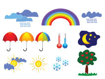 Weather icons. Clouds, sun, rainbow Vector Illustration