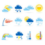 Weather icons. Set of 12 glossy weather icons Stock Photography