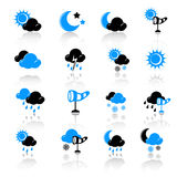 Weather icons. Set of 16 weather icons Stock Photos