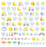 Weather icons. The collection of different weather icons, arrows for wind direction and weather icon parts to create Your own icons Stock Image