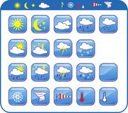 Weather icons. Illustration - weather icons set black Stock Photography
