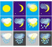 Weather icons. Set of the weather icons - sunny, cloudy etc Stock Images