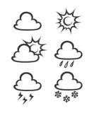 Weather icons. Vector illustration isolated on white background Royalty Free Stock Image