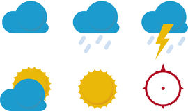 Weather icons (). Simple. Cloud, sun and compass Royalty Free Stock Image