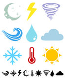 Weather icons. A set of colored icons Weather Royalty Free Stock Photo
