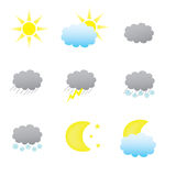 Weather icons. Collection of nine weather icons, with additional .eps format Stock Photo