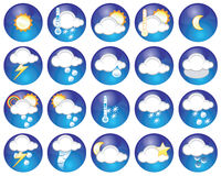 Weather icons. Set of different weather icons - additional ai and eps format available on request Stock Photography