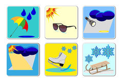 Weather icons. Vector of weather icons for icons Stock Photo