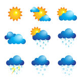 Weather icons. A vector illustration of different weather icons Stock Photos