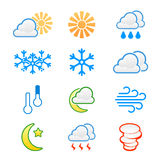 Weather icons. Cloudy rain sunny clear windy Royalty Free Stock Images
