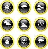 Weather icons. Set of weather icons on black glossy buttons isolated on white Royalty Free Stock Photography