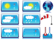 Weather icons. Glossy weather icons with globe, windsock and thermometer Royalty Free Stock Photography