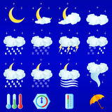 Weather icons. For night forecasting Vector Illustration