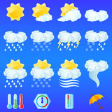 Weather icons. For day forecasting Royalty Free Illustration
