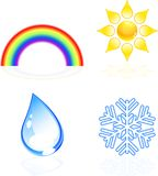 Weather icons. Four beautiful weather icons. Vector illustratio Royalty Free Stock Images