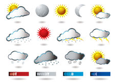 Weather icons. Collection of weather icons all with drop shadow Royalty Free Stock Images