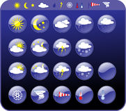 Weather icons. Symbols for the indication of weather. Vector illustration Royalty Free Stock Photography