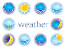 Weather icons. Vector illustrated traditional weather icons Royalty Free Stock Photo