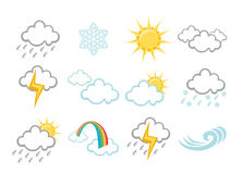 Weather Icons. Vector illustration set of elegant Weather Icons for all types of weather Royalty Free Stock Image