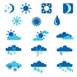 Weather icons. Set of blue weather icons Stock Photo