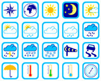 Weather icons. Collection of colour icons about weather of 591x591 pixels Royalty Free Stock Photos